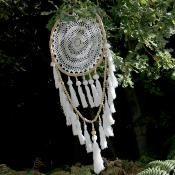 Dreamcatcher bamboo twisted with loop of beads 42cm