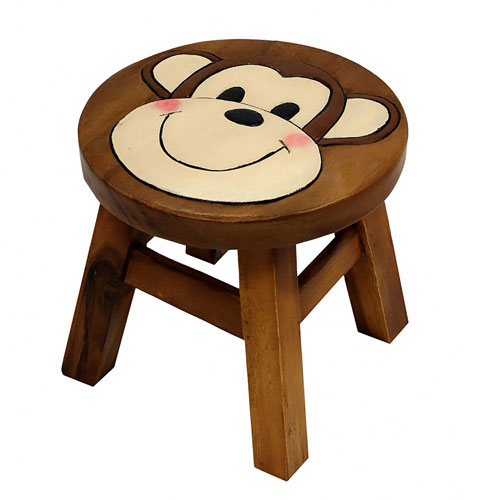 Child's wooden stool - monkey
