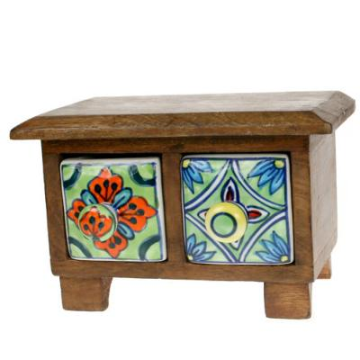 Wooden mini chest, 2 ceramic drawers