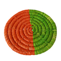 Raffia coaster, orange and lime, 9cm