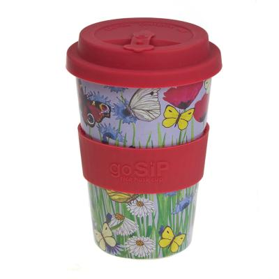 Rice husk cup 14oz, butterflies and meadow flowers