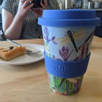 Reusable travel cup, biodegradable, warbler & dragonflies