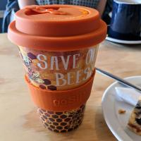 Reusable travel cup, biodegradable, save our bees