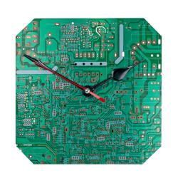 Clock, recycled circuit board, 18x18cm