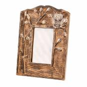 Photo frame, mango wood, owl 20x28cm