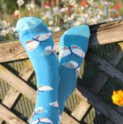 Bamboo socks, butterflies blue, Shoe size: UK 3-7, Euro 36-41