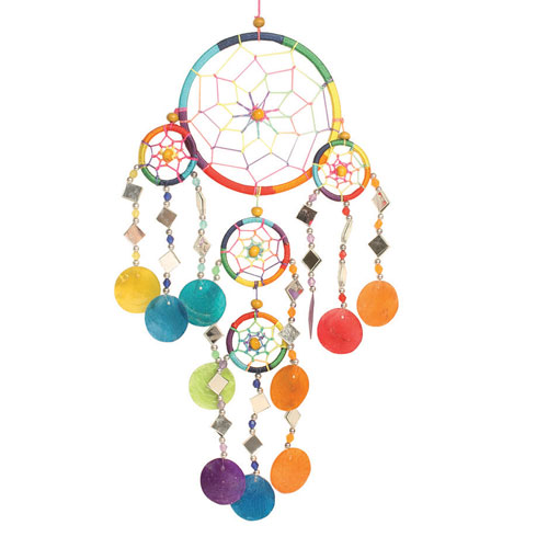 Dreamcatcher rainbow with mirrors & shells 12cm + 4