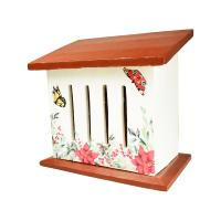 Butterfly house, white with orange/brown roof, 20x22cm