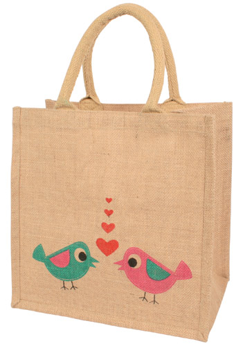 Jute shopping bag, natural coloured love birds