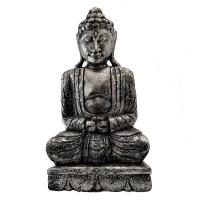 Buddha carved wood, silver colour 41cm height
