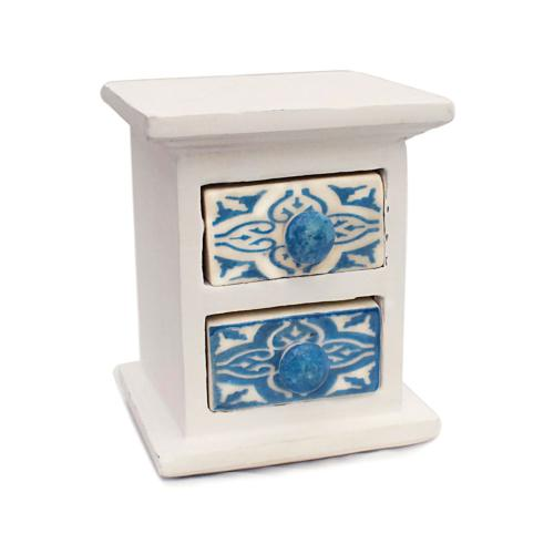 Wooden mini chest blue & white, 2 ceramic drawers