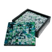 Set of 4 coasters, mosaic blue/green