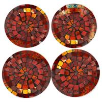 4 coasters, mosaic, height red