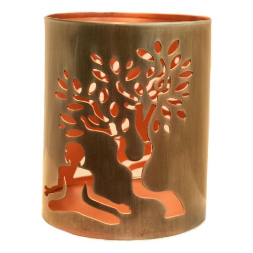 T-lite holder, metal die cut, Buddha and tree, 15cm height