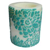 Candle Japanese chrysanthemum aqua + white, 7.5cm recessed