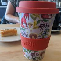 Reusable travel cup, biodegradable, fox and mushroom