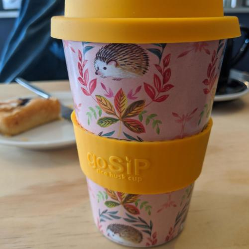 Reusable travel cup, biodegradable, hedgehogs