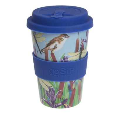 Rice husk cup 14oz, warbler and dragonflies