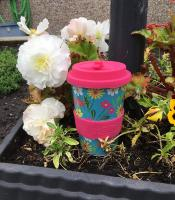 Reusable travel cup, biodegradable, folk florals turquoise