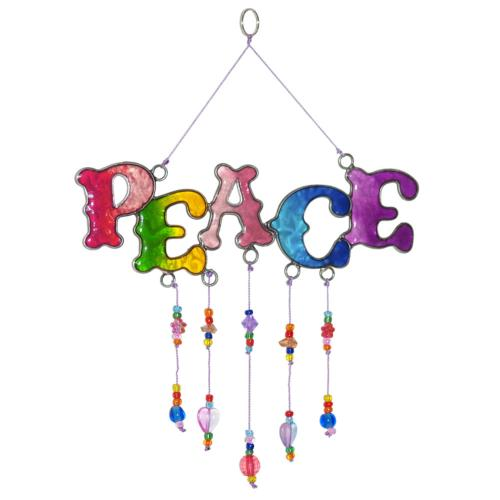 Suncatcher with beads PEACE