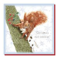 Christmas card, red squirrel
