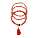 Set of 3 bracelets, red & gold colour beads
