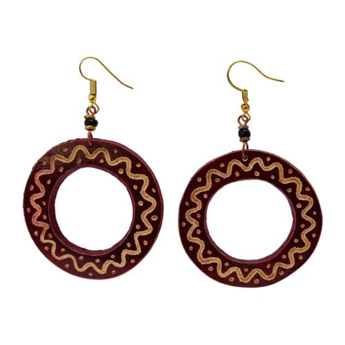 Earrings gourd circle + bead, maroon