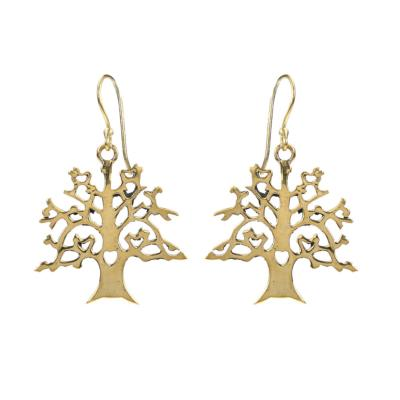 Earrings gold colour, tree