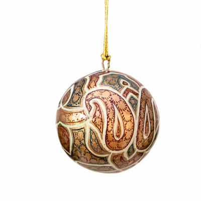 Bauble, painted paisley green gold red, 6cm