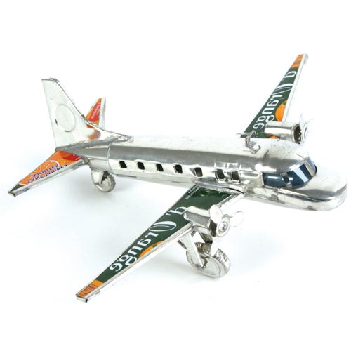 Plane recycled cans silver colour 20cm