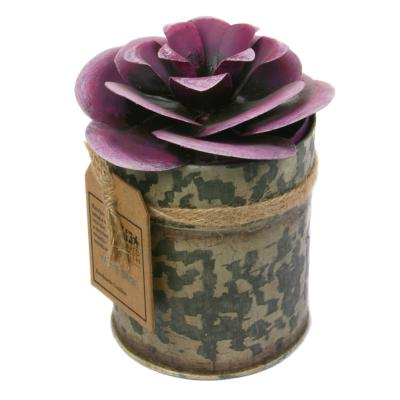 Candle in distressed recycled jar purple flower camellia, White Sage