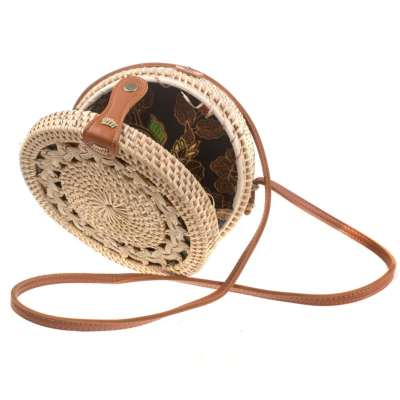 Shoulder bag, rattan, round, faux leather strap, beige/natural