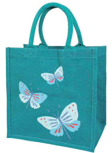 Jute shopping bag, blue butterflies
