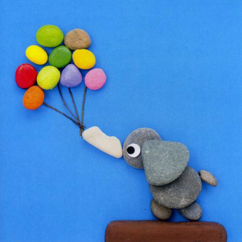Greetings card, elephant and balloons