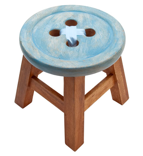 Child's Blue Button Stool
