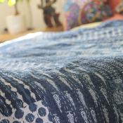 Throw/bedspread blue block trees 220x270cm