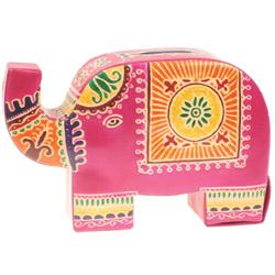 Leather money box elephant pink