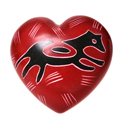 Heart shaped paperweight big cat