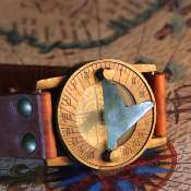 Compass and sundial on watch strap