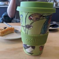 Reusable travel cup, biodegradable, birds in my garden