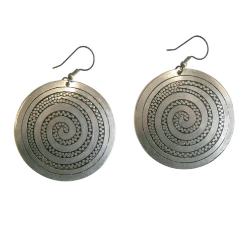 Earrings silver colour dome shape with spiral