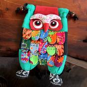 Shoulder purse, fabric, owl assorted colours 13 x 23cm **