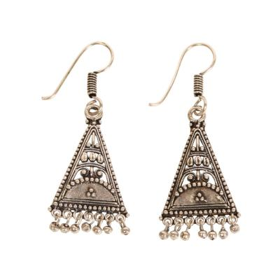 Earrings folk style silver colour triangle hanging beads