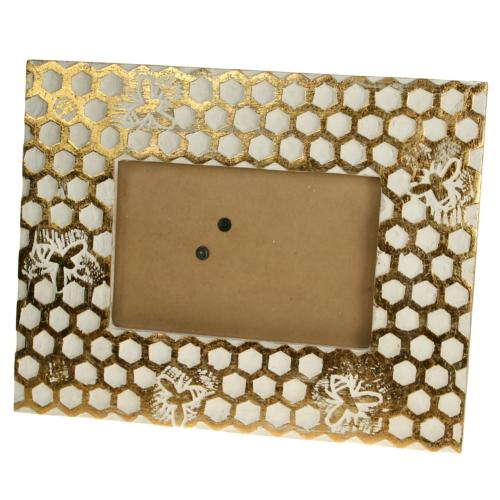 Photo frame, mango wood honeycomb design 6x4in photo