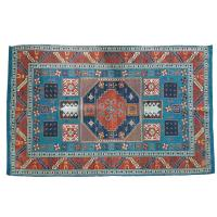 Rug indoor or outdoor, recycled plastic 80 x 120cm blue border