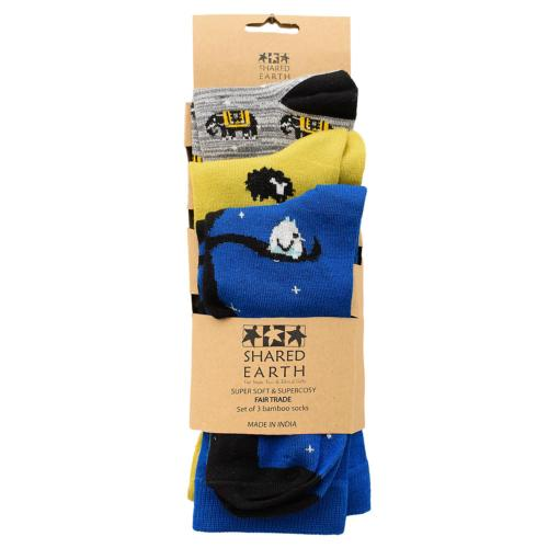 3 pairs of bamboo socks, elephants sheep owls, Shoe size: UK 7-11, Euro 41-47