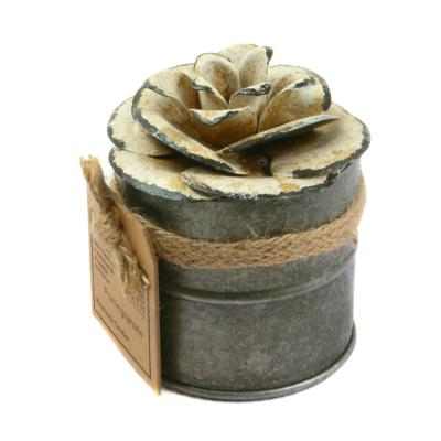 Candle in distressed recycled jar white camellia, Pomegranate