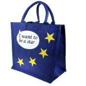 Jute shopping bag, square, I want to be a star