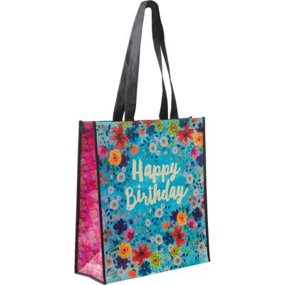 Gift bag made from recycled plastic bottles, Happy Birthday