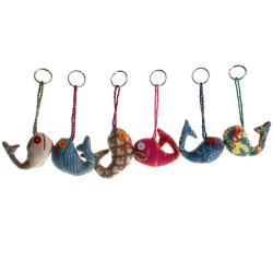 Single keyring, fish, recycled fabric assorted colours